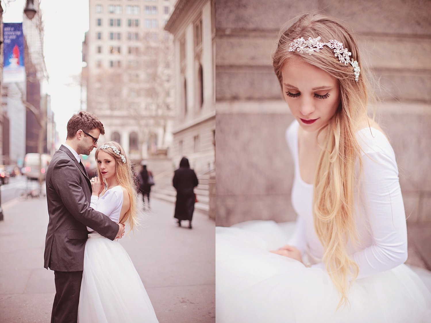 Rachael Burgess wedding pictures in Time Square, New York